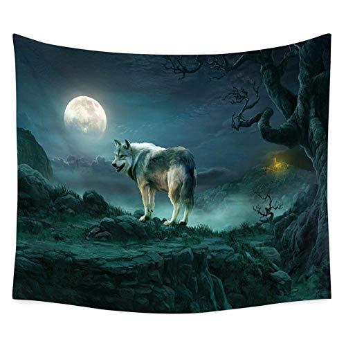 Noche Luna Lobo Animal Tapiz Estilo De Pintura Colgante De Pared Sala De Estar Dormitorio Decoración De La Pared Toalla De Playa Estera De Yoga Tela De Fondo,M/150x130cm,Xbllgt04