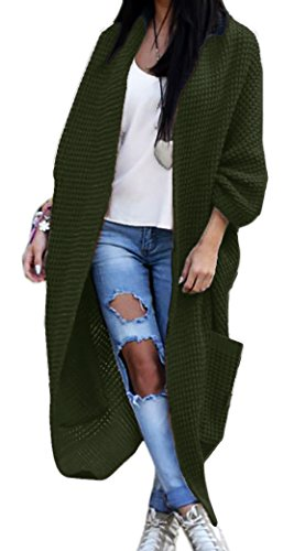 Mikos Damen Strickjacke Pullover Pulli Jacke Oversize Boho S M L XL (629) (One Size, Khaki)