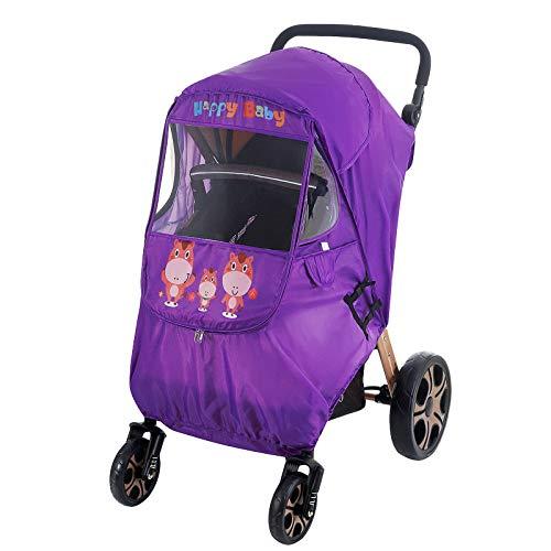 Heritan Cubierta de cochecito de bebé caliente universal a prueba de viento impermeable escudo con ventanas para cochecitos Accesorios de cochecito - Púrpura