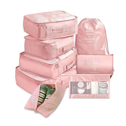 LLKK Bolsa de Almacenamiento de Ropa de Ocho Piezas con Buena relación Calidad-Precio,Cubos de Embalaje de Viaje,Varios tamaños y Colores,Tela Impermeable,Cremallera Reforzada