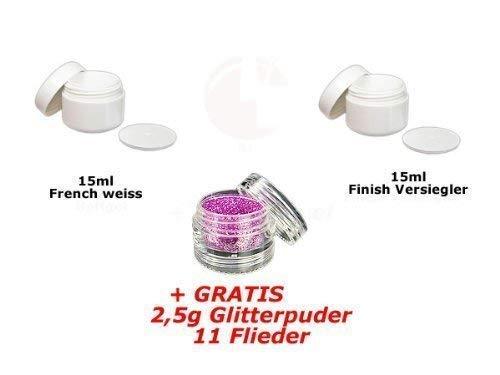 15ml Français Blanc + 15ml FINITION + glitterpuder 11 GRATUIT
