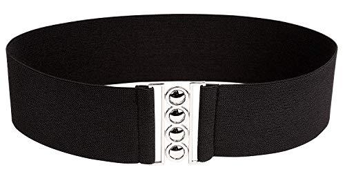 Modeway Women Fashion 3'Wide Silver Buckle Elastic Stretch Waist Cinch Belt (XL-XXL(34-38inch), Black)