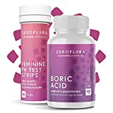 Serolora Boric Acid Vaginal Suppositories 600mg (28ct) and 40 pH Test Strips for Women - Feminine Health & Wellness pH Strips & Boric Acid