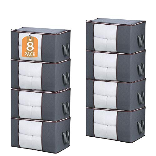 JNYONG 8-Pack 90L Extra Large Capacity Storage Bins with Clear Window, Closet Organizer and Clothes Storage Bags, 3 Layers Fabric, Reinforced Handle and sturdy zipper