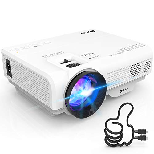 DR.Q Projector, Mini Projector 6000 Lumens, Video Projector Supports 1080P HD, Portable Projector Supports HDMI VGA AV USB TF Devices, Home Theater Projector, White.