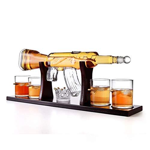 GXYtable cloth Juego de decantadores de Whisky, decantador de Armas AK47, con Soporte de Madera y 4 Balas, para Vino, Brandy, borbón, escocés y Licor