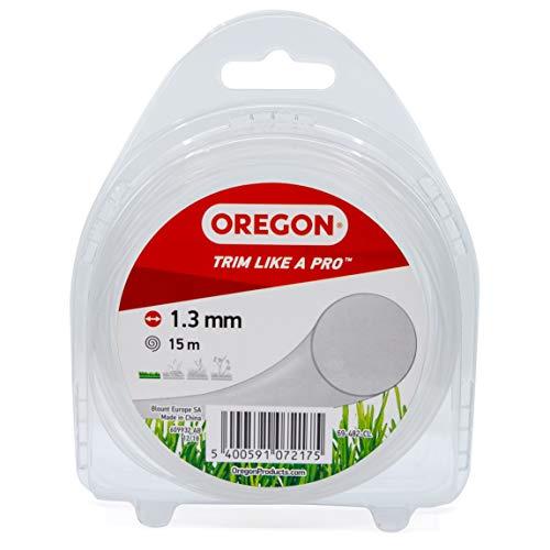 Oregon Mähfaden für Rasentrimmer mit rundem Querschnitt, Universal-Ersatzfaden, Passend für alle Standard-Fadenköpfe,1.3mm x 15m, Transparent (69-482-CL)