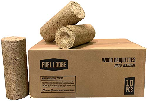 Fuel Lodge 20kg Briquettes Heat Logs - for Use in Log Burners - Eco Friendly, UK Manufactured, 10 Pieces