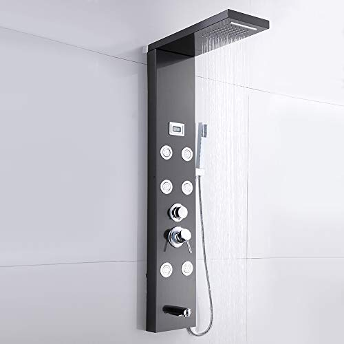 AYNEFY Sistema de torre de panel de ducha, panel de ducha de acero inoxidable, ducha de cascada mezclador de columna negra 6 chorro con pantalla de temperatura