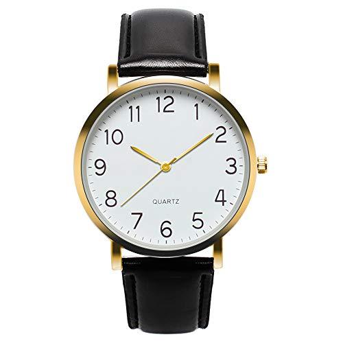 Armbanduhr Herren Klassisch Minimalistische Uhr, Männer Uhren Quarzuhr Wasserdicht Herrenuhren mit Lederarmband