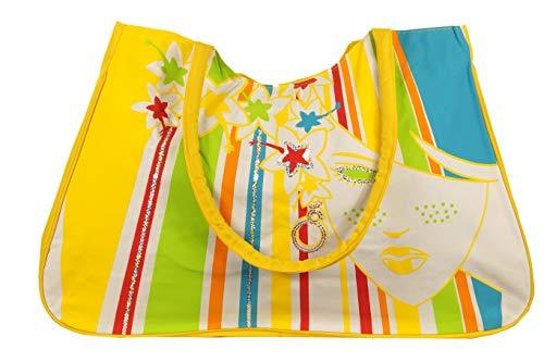 Jay-Fashionbox Damen Blumen Strandtasche Groß Sommertasche XXL Shopper mit Muster Tasche mit Pailletten Badetasche Schultertasche für Strand Pool Schwimmbad Shopping