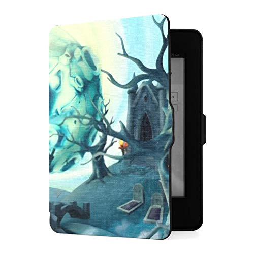Kindle Paperwhite 1 2 3 Case, Cemetery Halloween Background Cartoon Landscape 3d Pu Leather Case Cover With Smart Auto Wake Sleep For Amazon Kindle Paperwhite(fits 2012, 2013, 2015 Versions)