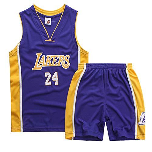 Kinder Trikot Lakers 23 James/24 Bryant, Basketball Trikots Jersey Uniform: Mesh Weste Shirt + Sommershorts Basketball Uniform