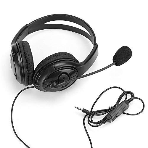 Gaming Headset met snoer, 3,5 mm Bel HIFI Stereo Bass Sound Hoofdtelefoon Oortelefoon met verstelbare hoofdband voor computer Mobiele telefoon PS4(Zwart)