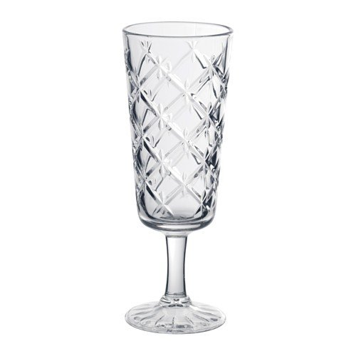 IKEA FLIMRA Sektglas aus Klarglas; gemustert; (19cl)
