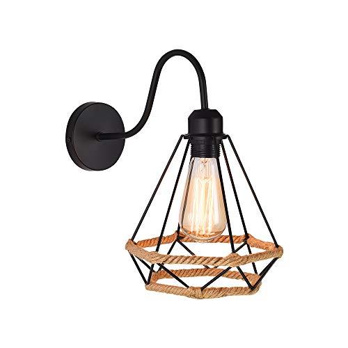 WOWEWA Wandleuchten Vintage Käfig mit Hanfseil Industrial Wandleuchte E27 Farbe Schwarz Metall Schatten Beleuchtung 1