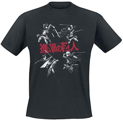 Attack on Titan Camiseta de Hombre Personajes Armin Eren Mikasa Levi Algodón Negro - XXL