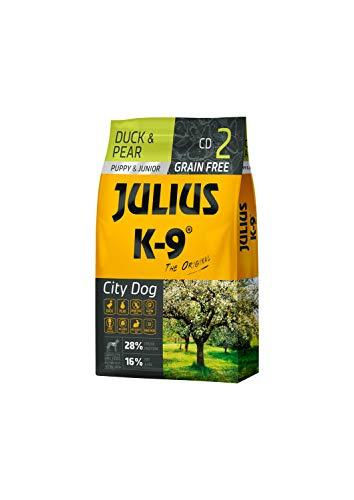 Julius K-9 Stadthund Welpen & Junior Ente & Birne getreidefreies, glutenfreies Hunde-Trockenfutter, 1er Pack (1 x 10 kg)