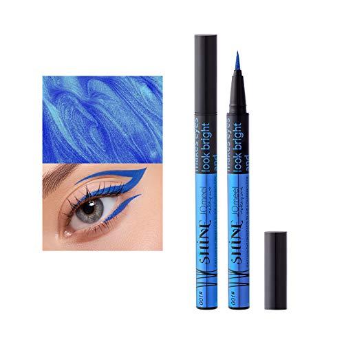 Mimore Delineador de ojos líquido colorido,Lápiz delineador de ojos Impermeable Brillante Delineador de ojos metálico de larga duración Brillo Cosméticos para ojos Herramientas de maquillaje (01)