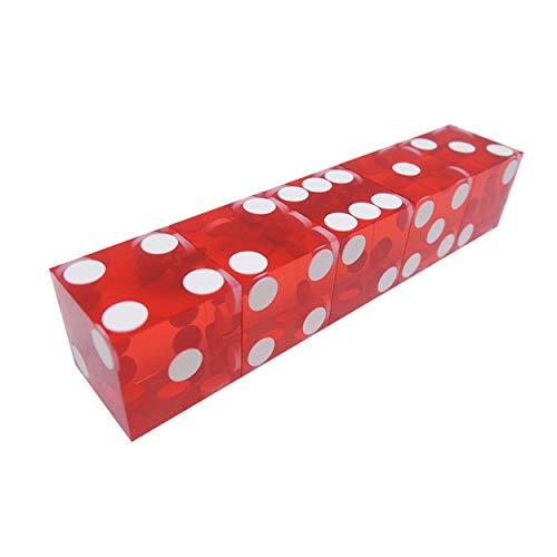 Lodenlli 5 Piezas de Dados de Casino de 19 mm con Bordes y números de Serie Dados Transparentes translúcidos D6 Dados Reales