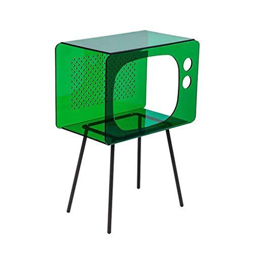 Mesas para lámparas Mesa Lateral Pequeña Mesa Auxiliar Moderna Mesita de luz Acrílico Tabla Lateral Simple Mesa de la Sala de Estar sofá de la Esquina Tabla Dormitorio de Noche (Color : Green)