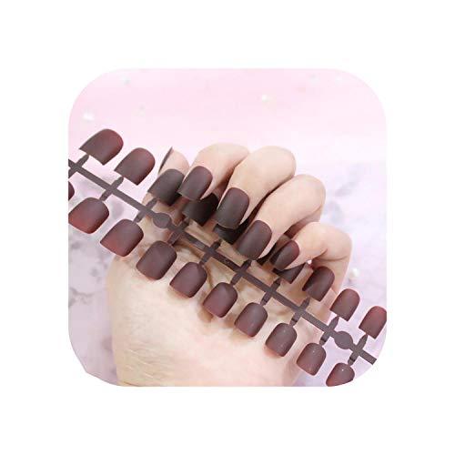 Nail Factory 24 pcs Givré Mat Ongles Pour Les Femmes Couleur Unie Faux Ongles Pleine Couverture Court Faux Conseils Ongles Artificiels-TJP720-Y5-