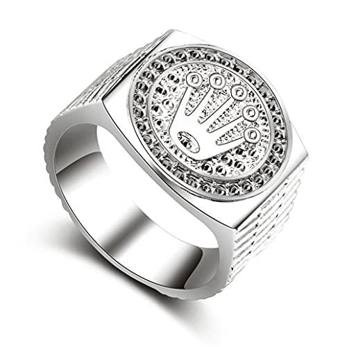 Banda de anillo de Hip Hop Tallado Coronet Didem para hombres Mujeres Valentines Día de la boda Fiesta de compromiso de cumpleaños Tamaño de plata 11