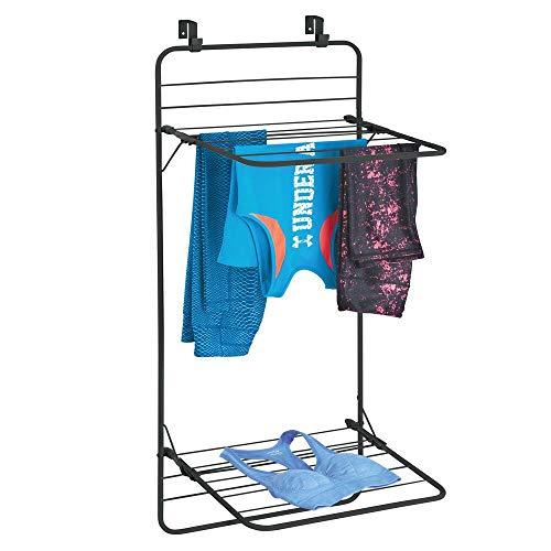 mDesign Tendedero Plegable – Tendedero Vertical de Metal Que Ahorra Espacio para Colgar en la Puerta – Tendedero portátil con Dos Niveles para baño o Sala de la Colada – Negro