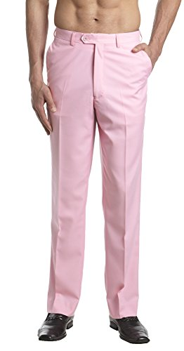 CONCITOR Men's Dress Pants Trousers Flat Front Slacks Solid PINK Color 48