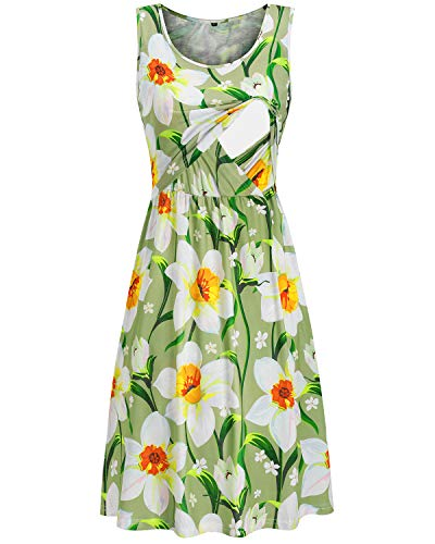 OUGES Womens Sleeveless Summer Floral Maternity Dresses Nursing Gown...