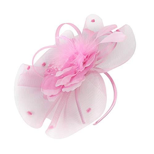 PRETYZOOM Fascinators Chapeaux Cheveux Cerceau Fleur Maille Rubans Plumes Net Cerceau pour Le Thé Cocktail de Mariage (Rose)