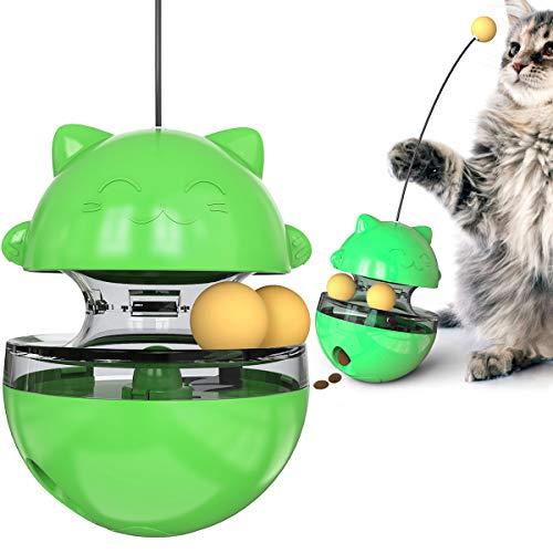 BundleMall - Pelota de juguete interactiva para mascotas, dispensador de golosinas, alimentador lento para gatos, bola de juguetes IQ, vaso de gato de la fortuna de gato