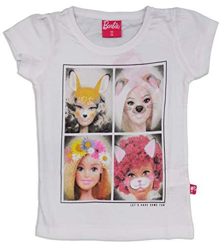 Barbie Ragazze Manica Corta Cotone T Shirt bianco 7 Anni