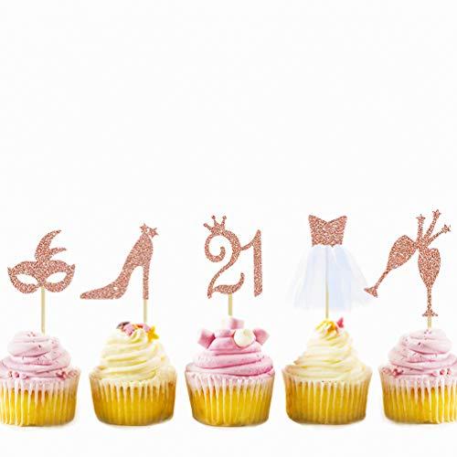 Juego de 32 adornos para tartas de cumpleaños con purpurina de oro rosa y 21 vientos, con figura 21, máscara, tacones altos, gafas, tul 3D, decoración para cupcakes, para 21º fiesta de cumpleaños