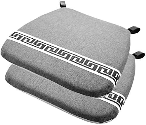 Sedia pastiglia e cuscino Set di 2 memory foam sedia cuscino sedia, sedia da pranzo antiscivolo tamponi per sedia biancheria U (Color : Gray)