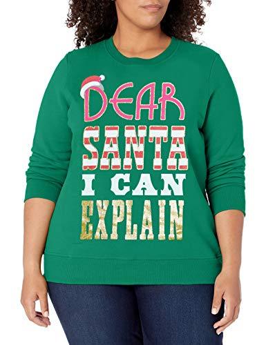 Just My Size Women's Plus Size Ugly Christmas Sweatshirt, Emerald Night Dear Santa, 2X