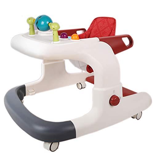 Baby Activity Walker, bevordert de ontwikkeling van kinderen In hoogte verstelbare opvouwbare rollator rollator loopstoeltje met hoge rugkussen en speelgoed