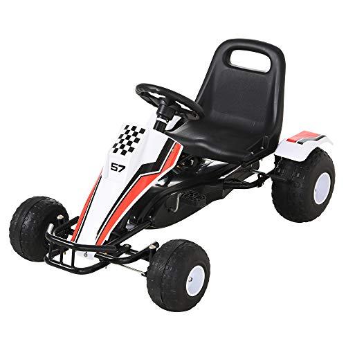 homcom Go-Kart a Pedali Bianco per Bambini 3-8 Anni con Sedile Regolabile, Ruote in Plastica, Freno a Mano e Cambio