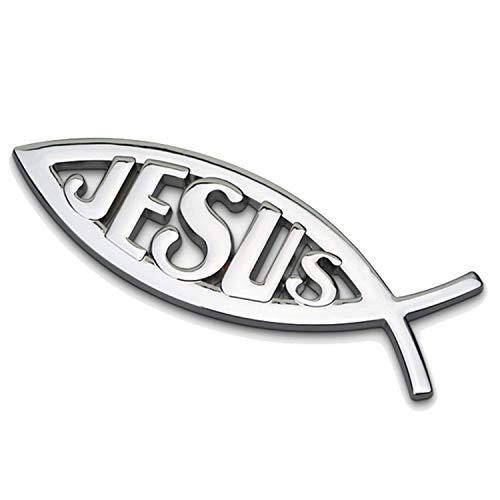 HUAYT Silver Jesus Fish Premier Emblem,1Pack Christian Fish Aluminum Alloy Badges Decals for Lord Jesus Christian