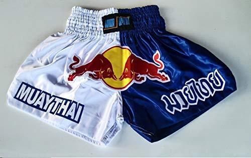 Muay Thai Shorts Pantaloncini Thai Boxe Kick Boxing MMA Satinati Bulls (Large)