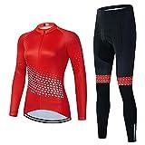 Traje Jerseys de Ciclismo Maillot Ciclista de Manga Larga para Mujer+Pantalones Set de Ciclismo con Almohadilla de Gel 20D,Ropa de Ciclismo de Bicicleta de Montaña-Respirable/Cómodo/Secado Rápido