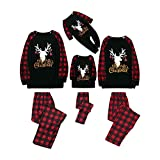 Alueeu Pijamas Navideños Familiares Conjunto Invierno Pantalon y Top Homewear Hombre Mujer Niño Bebé Ropa Manga Larga Sudadera Chándal Suéter Set