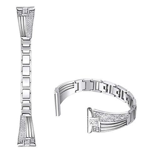 Deng Xuna Uhrarmband Bands für Fitbit Versa Lite,Damen Mode Elegant Ersatz Metall Edelstahl Crystal Armbänder für Fitbit Versa Lite (Silber)