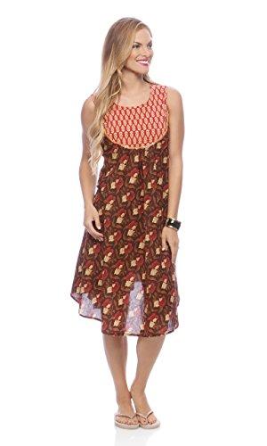 Morpankh Women's Floral Print Kurta Tunic; XL; Brown