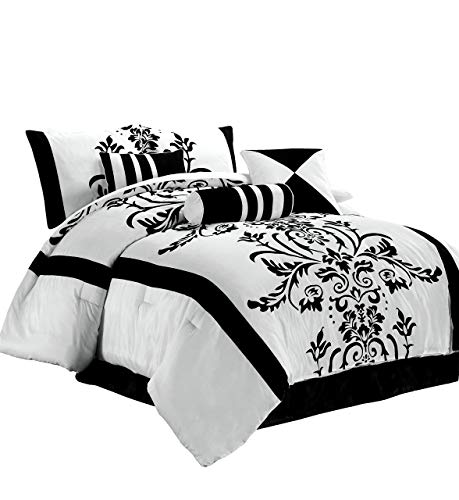 Chezmoi Collection 7-Piece White with Black Floral Flocking Comforter Set Bed-in-a-Bag for California King Size Bedding, Black/White, Queen