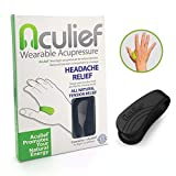 Aculief - Award Winning Natural Headache, Migraine, Tension Relief Wearable – Supporting Acupressure Relaxation, Stress Alleviation, Soothing Muscle Pain - Simple, Easy, Effective 1 Pack - (Black)