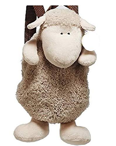 Bavaria Home Style Collection Rucksack aus Plüsch Kinderrucksack Tasche Beutel Plüschrucksack Lamm Schaf beige oder weiß - Geschenkideen Geburtstag, Ostern, Weihnachten (beige)