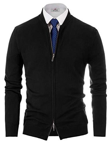 Mens Classic 2-Way Zip Cardingan Sweater Stand Collar Baseball Jacket Black, M