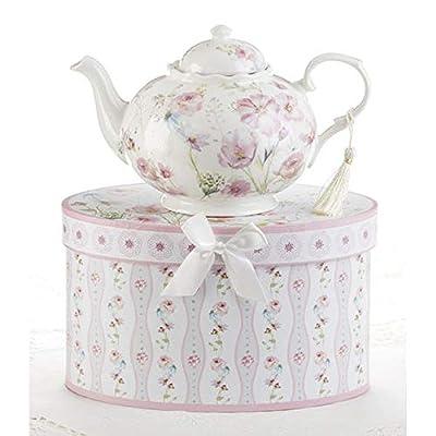 Delton 9.5X5.6 Porcelain Tea Pot, Poppyseed
