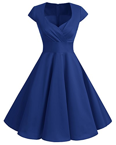 bbonlinedress 1950er Vintage Retro Cocktailkleid Rockabilly V-Ausschnitt Faltenrock Royal Blue L